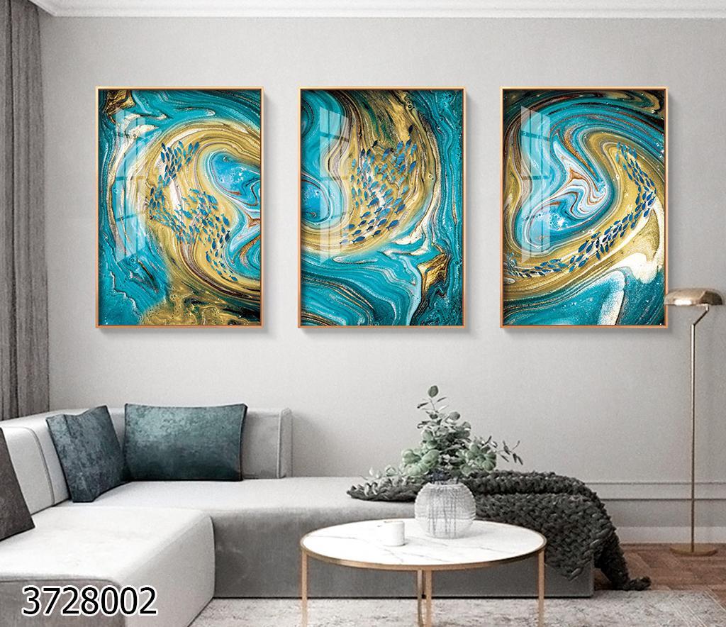 blue hole טריפל אבסטרקטי בגווני כחול וזהבתמונות זכוכית מוכנות לתליה בסלון או לפינת אוכל
