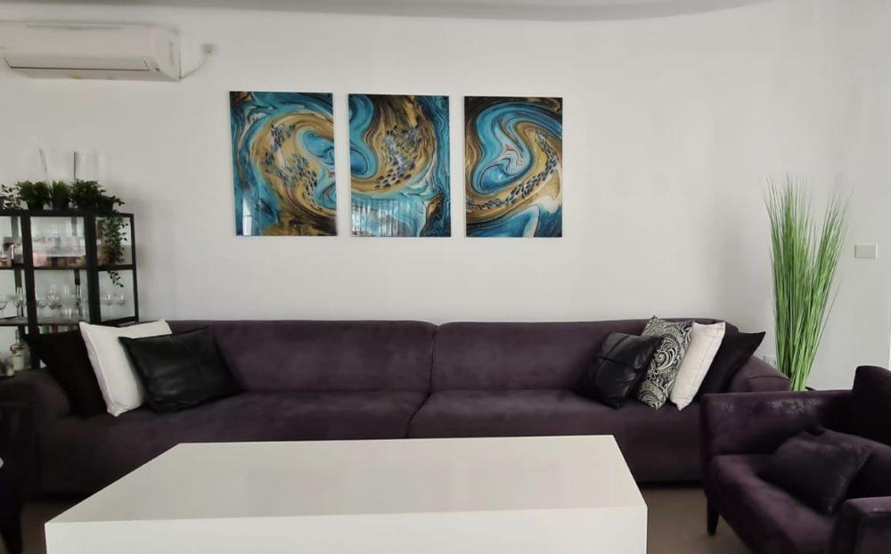 blue hole טריפל אבסטרקטי סט תמונות זכוכית מוכנות לתליה בסלון או לפינת אוכל דגם 3728002 photo review
