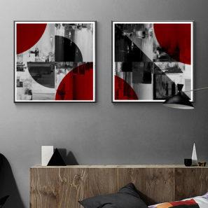 צללית של יין זוג תמונות בסגנון אבסטרקטי לסלון לחדר שינה למשרד דגם 906162