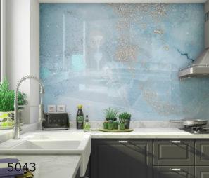 אבסטרקט תכלת חיפוי קיר שלם בזכוכית למטבח דגם 5043