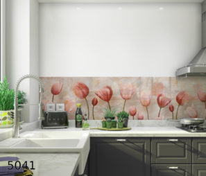 ורדים זכוכית מחוסמת מודפסת לקיר מטבח דגם 4051