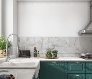 חיפוי זכוכית אבסטרקטי לבן עם נגיעות זהב למטבח דגם 5052