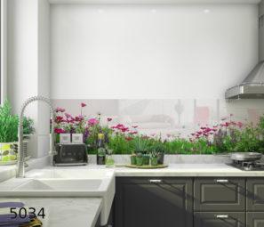 חיפוי זכוכית למטבח פריחה דגם 5034