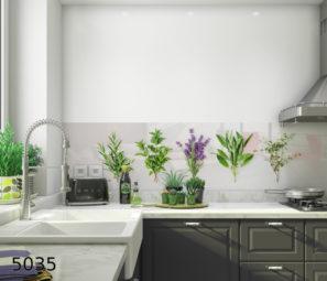 ירוקים על רקע לבן חיפוי זכוכית למטבח דגם 5035