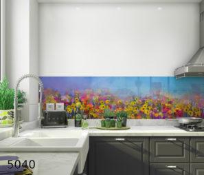 שדות פרחים - חיפוי קיר בזכוככית מחוסמת 6 ממ למטבח דגם 5040