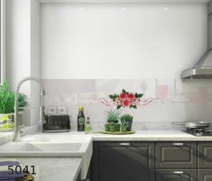 שלושה פרחים ורודים חיפוי זכוכית למטבח דגם 5041