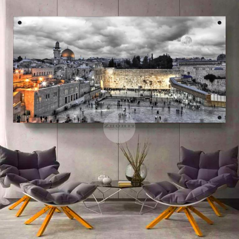 תמונת הכותל, ירושלים בלילה - מתאים לתלייה בסלון או במשרד להדפסה על קנבס או זכוכית דגם F15W