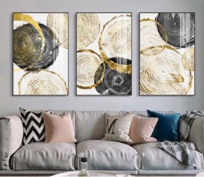 אבסטרקט עיגולי הזהב סט תמונות מבוקשות לסלון דגם 3235986