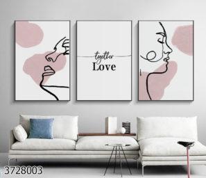 אומנות קשרי אהבה טריפל זכוכית בסגנון מינימליסטי נורדי לתלייה בחדר שינה דגם 3728003