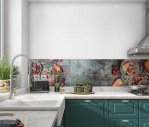 חיפוי זכוכית באווירת בריאות למטבח על רקע כפרי דגם 5064
