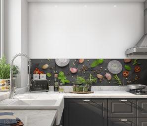 חיפוי זכוכית למטבח באווירת המטבח הישראלי דגם 5050