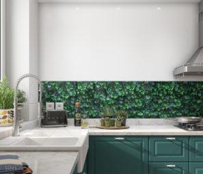 חיפוי זכוכית למטבח בסגנון קיר ירוק דגם 5049