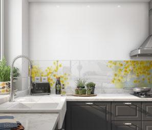 חיפוי זכוכית למטבח פרחים צהובים על רקע לבן דגם 5047