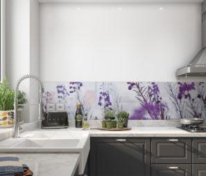 חיפוי זכוכית למטבח - שיא הפריחה של פרחי הלבנדר דגם 6063