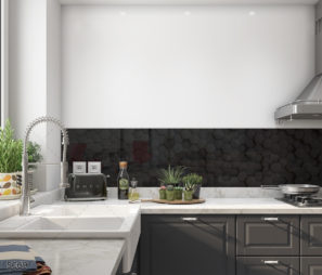 חיפוי קיר זכוכית על רקע שחור גיאומטרי תלת מימד למטבח דגם 5069