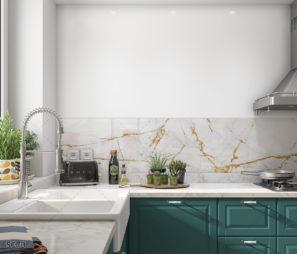 סדקים מזהב על רקע לבן חיפוי זכוכית יוקרתי למטבח דגם 5070