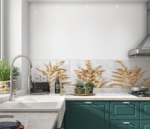 עלי דקל זהב על רקע לבן מונסטטרה חיפוי זכוכית למטבח דגם 5054