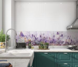 פריחה סגולה חיפוי זכוכית למטבח דגם 5048