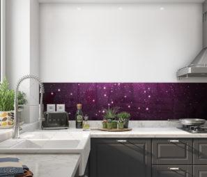 שמיים סגולים עם כוכבים מאירים בלבן חיפוי זכוכית יוקרתי למטבח דגם 5067