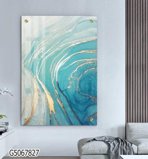אוקיינוס - תמונת זכוכית אבסטרקטית יוקרתית לתלייה בסלון או במשרד דגם G5067827