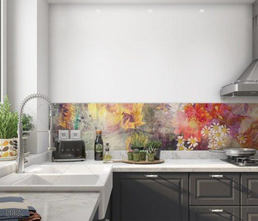 אבסטרקט חמניות חיפוי זכוכית פרחוני למטבח באווירה צעירה דגם 5082