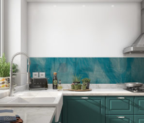 אבסקטרט כחול מדהים חיפוי זכוכית למטבח דגם 5058