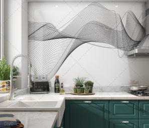אלגנטי שחור לבן - חיפוי זכוכית למטבח דגם 5097