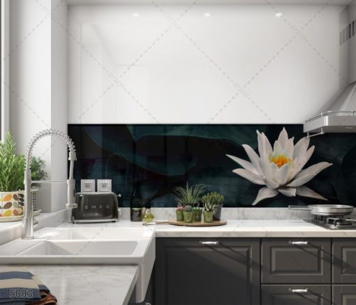 אלמנט הפרח - חיפוי זכוכית במראה עדין ויפה למטבח דגם 5093