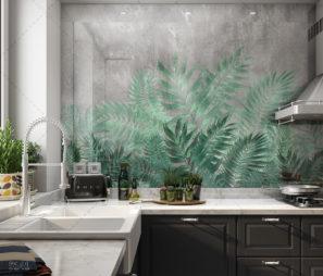 אלמנט עצים תלת ממדיים - חיפוי זכוכית למטבח דגם 5141