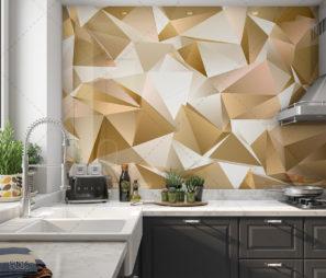 גיאומטרי זהב - חיפוי זכוכית למטבח תלת ממדי מהמם דגם 5115