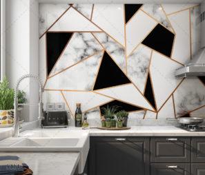 גיאומטרי מודרני - חיפוי זכוכית למטבח שחור לבן זהב דגם 5114