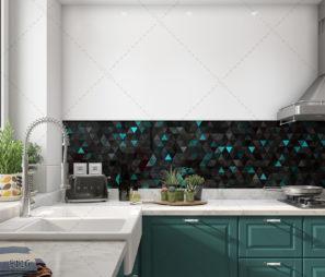 גיאומטרי משולשים זוהרים - חיפוי זכוכית למטבח דגם 5116