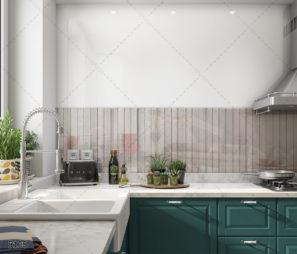 דמוי עץ - חיפוי מטבח מזכוכית בסגנון עץ לבן דגם 5108