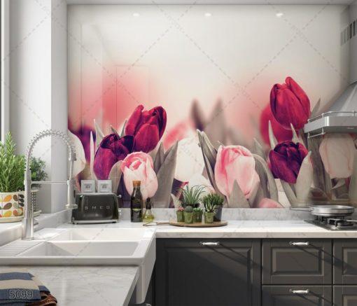 ואלס להגנת הצומח - חיפוי קיר זכוכית פרחים למטבח דגם 5099