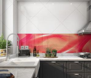 ורוד אלגנטי - חיפוי קיר זכוכית חדשני למטבח דגם 5100