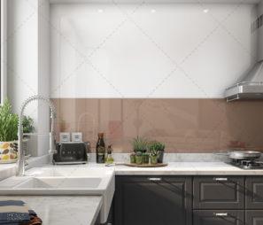 חיפוי זכוכית אקסטרה קליר למטבח בצבע מוקה דגם 5135