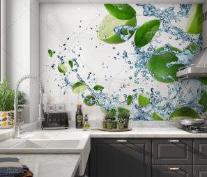 חיפוי זכוכית למטבח בסגנון מודרני עם לימון ומים דגם 5110
