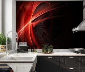 חיפוי זכוכית למטבח המודרני החדשני בצבעים שחור אדום דגם 5140