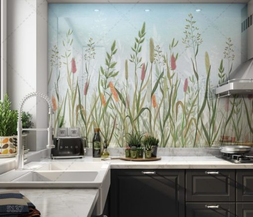 חיפוי זכוכית למטבח - טבע מצוייר על רקע תכלת דגם 5137