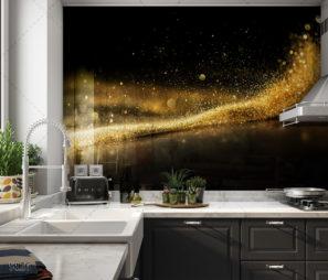 חיפוי זכוכית למטבח שחור עם רסיסי זהב דגם 5126