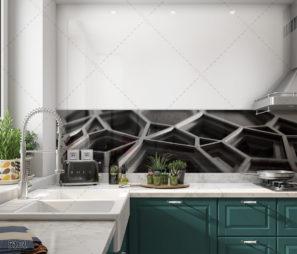 חיפוי קיר זכוכית למטבח מודרני גיאומטרי שחור דגם 5101