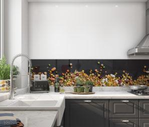 חיפוי קיר זכוכית מדהים למטבח של כל אבות המזון מלא בצבעים דגם 5062