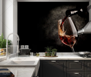 יין משובח - חיפוי זכוכית שחורה למטבח מודרני כפרי דגם 5130