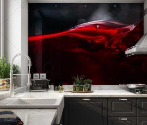 יין עשיר בסגנון קלאסי - חיפוי זכוכית שחורה אדומה למטבח הטרנדי דגם 5128