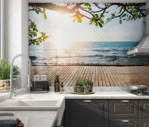 ים כפרי - חיפוי זכוכית למטבח כפרי מודרני דגם 5133