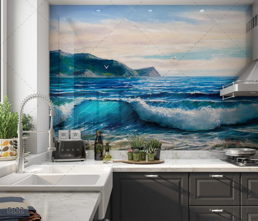 ים ציורי - חיפוי זכוכית למטבח האמנותי דגם 5132