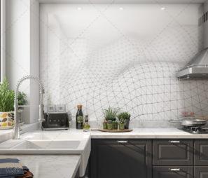 לבן עם אלמנטים גיאומטרים - חיפוי זכוכית למטבח לבן דגם 5124