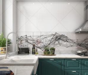 נקודות וקווים - חיפוי גיאומטרי זכוכית למטבח דגם 5098