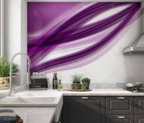 סגול אלגנטי חיפוי זכוכית למטבח על רקע לבן דגם 5105