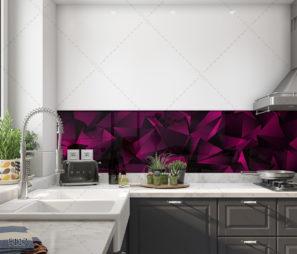 סגול תלת ממדי יוקרתי- חיפוי זכוכית למטבח מודרני דגם 5117
